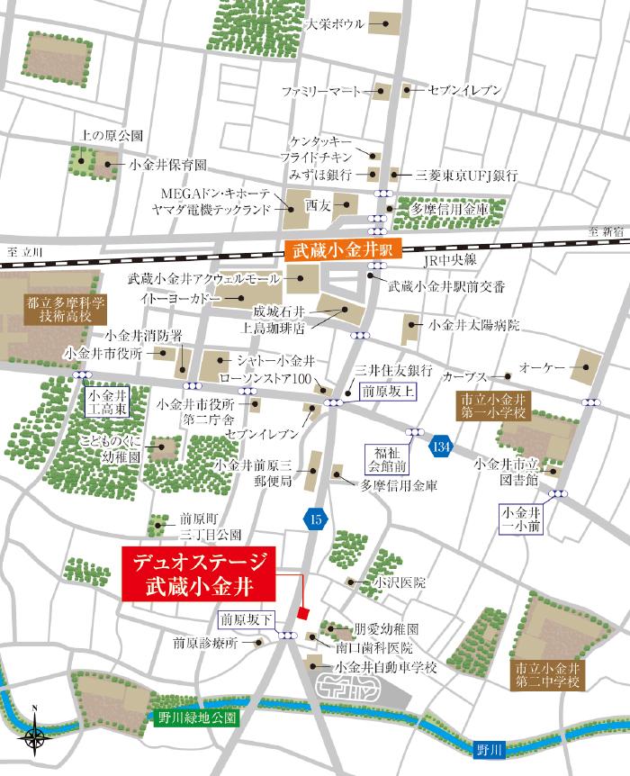デュオステージ武蔵小金井:案内図