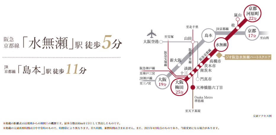 ジオ阪急水無瀬ハートスクエア:交通図