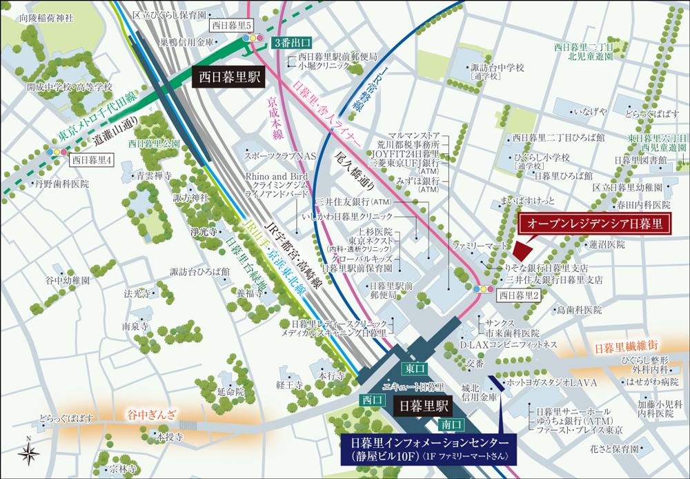 オープンレジデンシア日暮里:モデルルーム地図