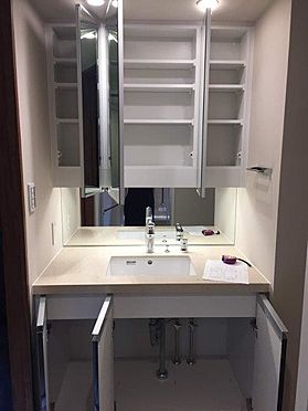 マンション(建物一部)-港区西新橋3丁目 収納豊富な洗面室。カウンタートップには高級感漂うシーザーストーンを採用。
