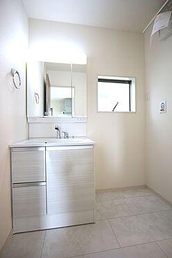 戸建賃貸-大和高田市大字吉井 大型の洗濯機も無理なく設置できる広さを確保。洗面台は便利なシャワー付きです。