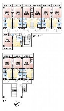 ビル(建物全部)-福岡市東区和白4丁目 建物面積577.81? 土地面積378.23? 鉄骨造4階建 1DK×24戸 東南角地