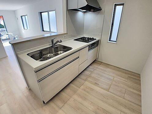 新築一戸建て-名古屋市名東区赤松台 3口コンロ・広々シンクのキッチン