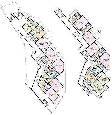 アパート-藤沢市藤沢 間取詳細 1階部分1K4部屋、2DK1部屋。2階部分1K4部屋、2DK1部屋