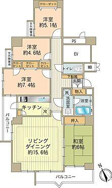 中古マンション-八王子市別所1丁目 各居室に収納が有る角部屋4LDK