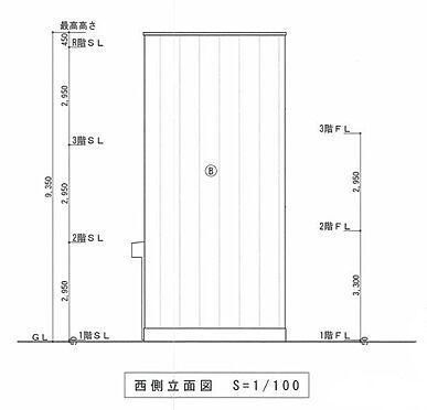 マンション(建物全部)-川越市大字小堤 西側 立面図