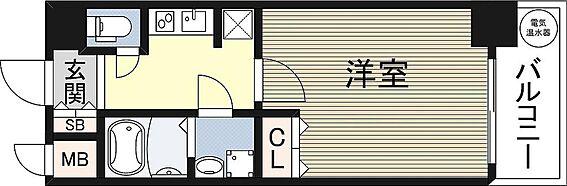 マンション(建物一部)-大阪市中央区島之内1丁目 単身者向け・3点セパレートの1Kの間取りです