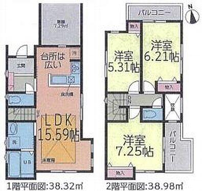 戸建賃貸-名古屋市千種区春岡通7丁目 2面バルコニーで暖かな日差しが室内に差し込みます。