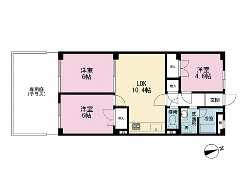マンション(建物全部)-荒川区西日暮里2丁目 3LDKの間取りに加えて21.61平米のゆとりある専用庭