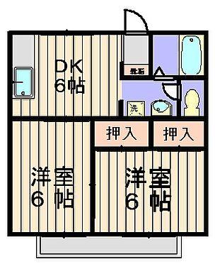 アパート-土浦市湖北1丁目 全室6帖の2DK。