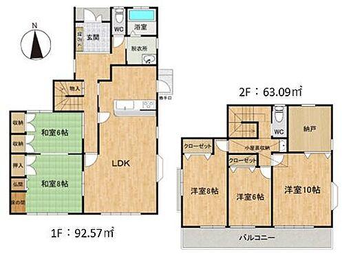 中古一戸建て-豊田市志賀町下番戸 建物面積約47.08坪です。主婦に便利な勝手口や、小屋裏収納もございます。