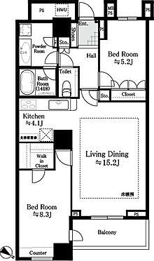 マンション(建物一部)-中央区勝どき6丁目 間取り