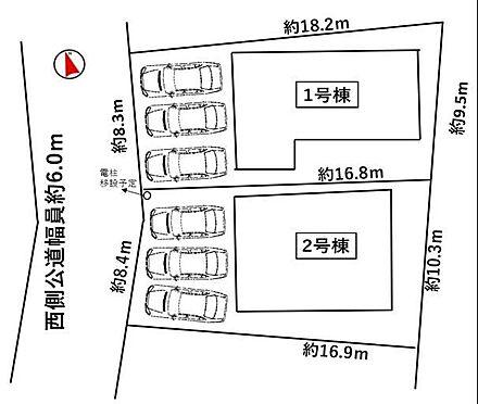 戸建賃貸-西尾市戸ケ崎3丁目 区割図桜町前駅まで徒歩約7分!
