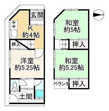 中古テラスハウス-東大阪市川田1丁目 間取り