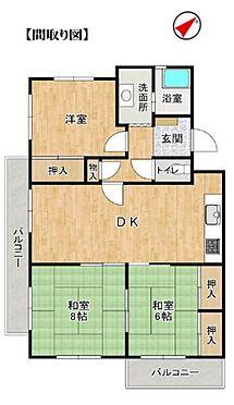 中古マンション-名古屋市天白区植田西1丁目 間取りです。日当たり良好な2面バルコニーが特徴的。