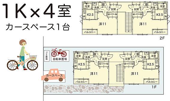 アパート-入間郡毛呂山町若山1丁目 広めの1Kが4部屋あります。内装にもこだわっています。