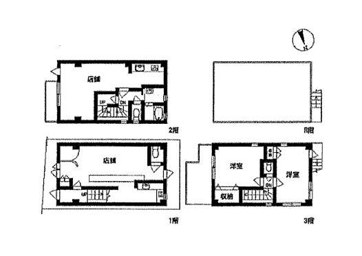 店舗(建物全部)-新座市東北1丁目 各階の平面図です。1階店舗、2階と3階はメゾネット仕様。2階は店舗、3階は居室。
