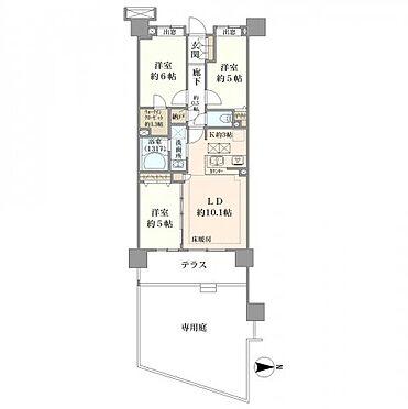 中古マンション-横浜市神奈川区三枚町 66平米超・3LDK+専用庭30平米+テラス10平米=専用使用面積100平米超!