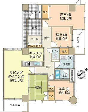 区分マンション-八王子市別所1丁目 和室をリビングに拡張や洋室3と4を一部屋にもできます。