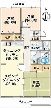 中古マンション-八王子市南大沢3丁目 約79m2、南向き3LDKタイプ