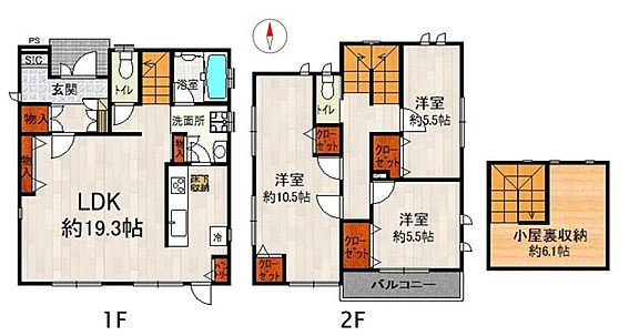 中古一戸建て-江南市勝佐町西郷 小屋裏収納もあり収納豊富な3LDKの間取り♪2WAYサニタリーで水回りがまとまっており使いやすい家事動線です!