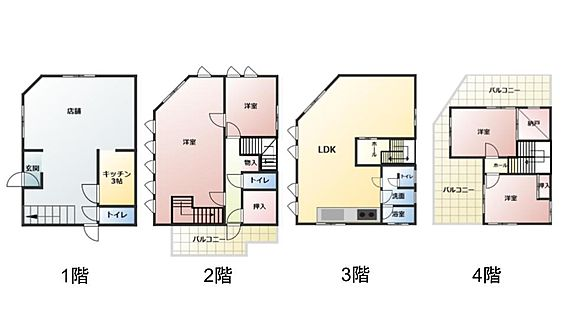 店舗付住宅(建物全部)-和歌山市小雑賀 1階部分店舗を住居用に改装可能。