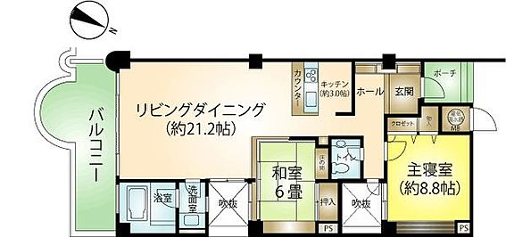 リゾートマンション-熱海市伊豆山 2LDk、約90m2のゆったり間取りです。