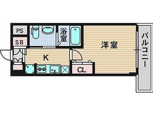 マンション(建物一部)-大阪市東淀川区東中島1丁目 水回りと居室が分けられた間取り