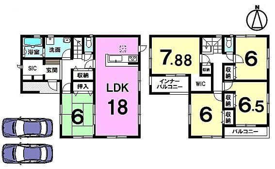 戸建賃貸-北葛城郡広陵町大字南郷 延床面積38坪の5LDKの大型住宅。全室6帖以上の広さを確保致します。駐車は並列で2台可能です。