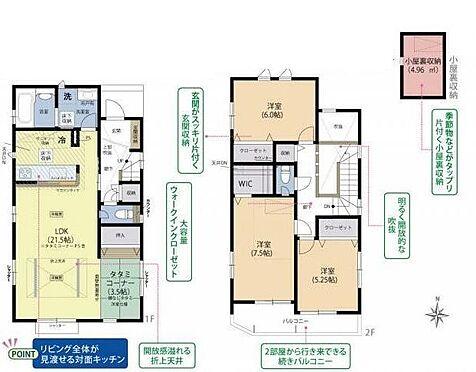 新築一戸建て-名古屋市名東区猪子石1丁目 小屋裏収納、ウォークインクローゼット等の収納が充実した間取りです。