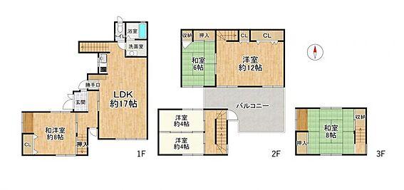 中古テラスハウス-名古屋市中川区中郷3丁目 2階にワイドバルコニー付き!LDKは広々17帖で家族が触れ合えるリビング階段です♪