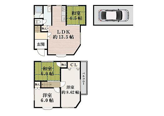建物全部その他-宇治市五ケ庄広岡谷 4LDK間取り図です。お車1台駐車可能。