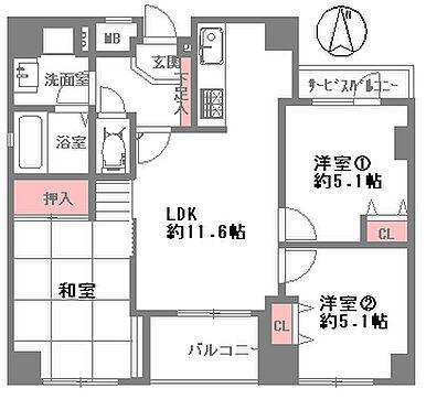 区分マンション-大阪市中央区北新町 間取り