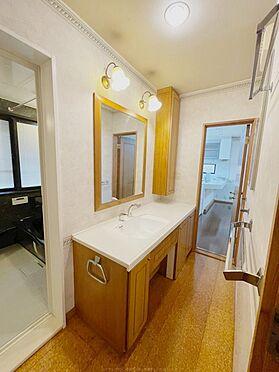 戸建賃貸-浦安市舞浜3丁目 木目が美しい洗面所。レトロモダンな照明が、柔らかく空間を照らします。