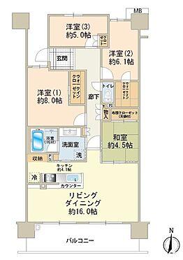 中古マンション-八王子市鑓水2丁目 8階部分最上階住戸、約100m2の収納豊富な4LDKタイプです