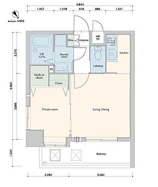 マンション(建物一部)-福岡市博多区下呉服町 角部屋の1LDK