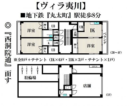 一棟マンション-京都市中京区薬師町 間取り