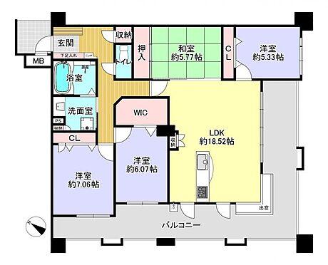 区分マンション-春日市須玖南5丁目 4LDK、専有面積99.79m2、バルコニー面積33.54m2