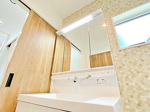 戸建賃貸-多摩市聖ヶ丘3丁目 ハンドシャワー付きの洗面化粧台。収納充実の三面鏡も嬉しいですね。