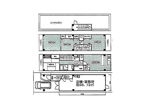 店舗付住宅(建物全部)-大阪市平野区西脇1丁目 間取り
