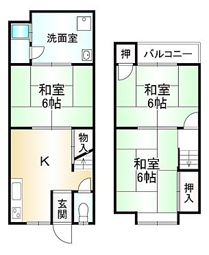 中古テラスハウス-京都市山科区四ノ宮山田町 間取り