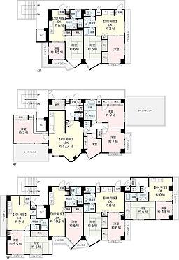 マンション(建物全部)-豊島区北大塚1丁目 3階、4階、5階の間取りです。