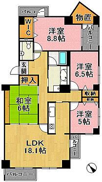 中古マンション-神戸市須磨区北落合6丁目 間取り