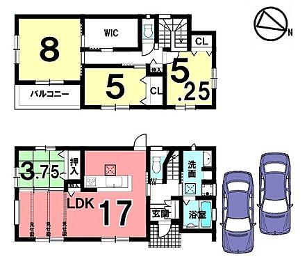 戸建賃貸-橿原市菖蒲町3丁目 全室に収納スペースを確保。2階8帖のWICは廊下からも出入りできる便利な設計です。並列で2台駐車可能です