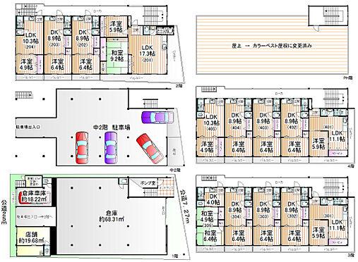 マンション(建物全部)-大阪市西区境川2丁目 2LDK×1戸・1LDK×4戸・2DK×1戸・1DK×8戸・店舗1戸・倉庫1戸(計16戸と駐車場5台)