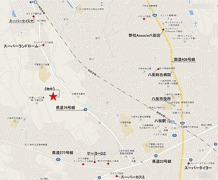 アパート-八街市大関 現地の地図です