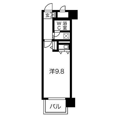 区分マンション-岡山市北区内山下1丁目 平面図(開口部南向き)
