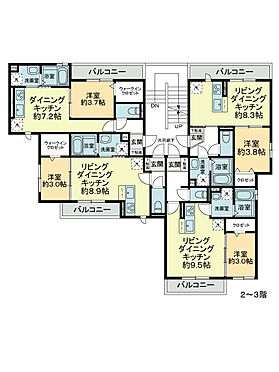 アパート-広島市中区羽衣町 2〜3階平面図