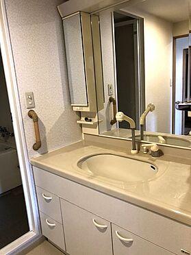 中古マンション-桜井市大字谷 大型の洗濯機も無理なく設置できる広さを確保。洗面台は便利なシャワー付きです。