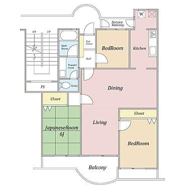 区分マンション-横浜市磯子区氷取沢町 個室がリビングを挟み独立していますのでプライバシーの確保ができます
